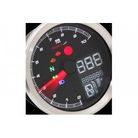 DIGITAL MULTIFUNCTION COCKPIT TNT-04 TACHOMETER/TACHOMETER WITH CHROME RING
