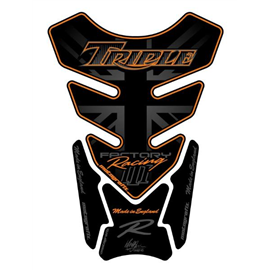 PROTECTOR DEPOSITO 4PCS TRIPLE NEGRO/NARANJA TRIUMPH